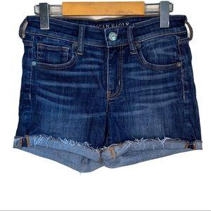 AEO Frayed Hem Mid Rise Denim Jean Shorts